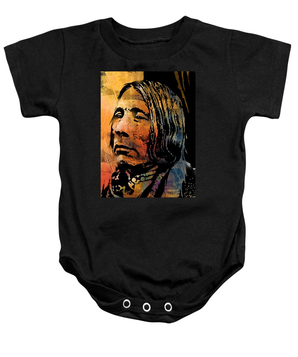 Native American Baby Onesie featuring the painting Bear Walks Lying Down by Paul Sachtleben