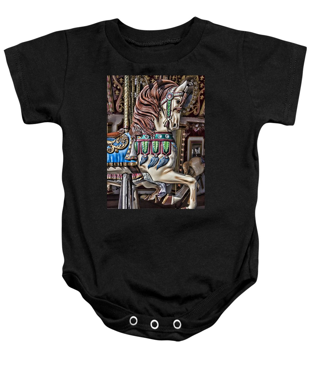 Wild Carrousel Horses Baby Onesie featuring the photograph Beautiful Carousel Horse by Garry Gay