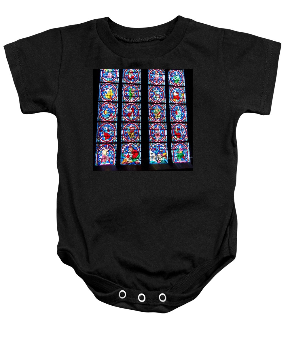 France Baby Onesie featuring the photograph Beautiful Stained Glass At Notre Dame Cathedral by Jon Berghoff