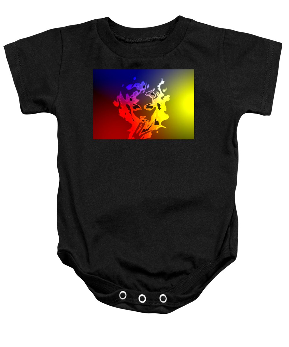 Digital Painting Madonna Face Abstract Beauty Singer Color Colorful Sexy Erotic Hot Baby Onesie featuring the digital art Beauty In The Neon Light by Steve K