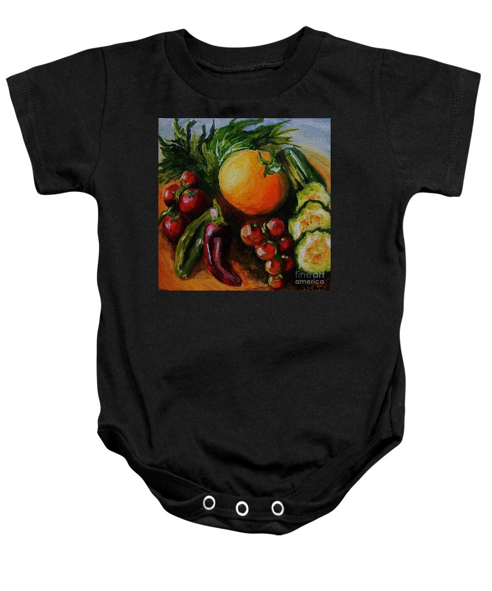 Still Life. Food Baby Onesie featuring the painting Beauty Of Good Eats by Karen Ferrand Carroll