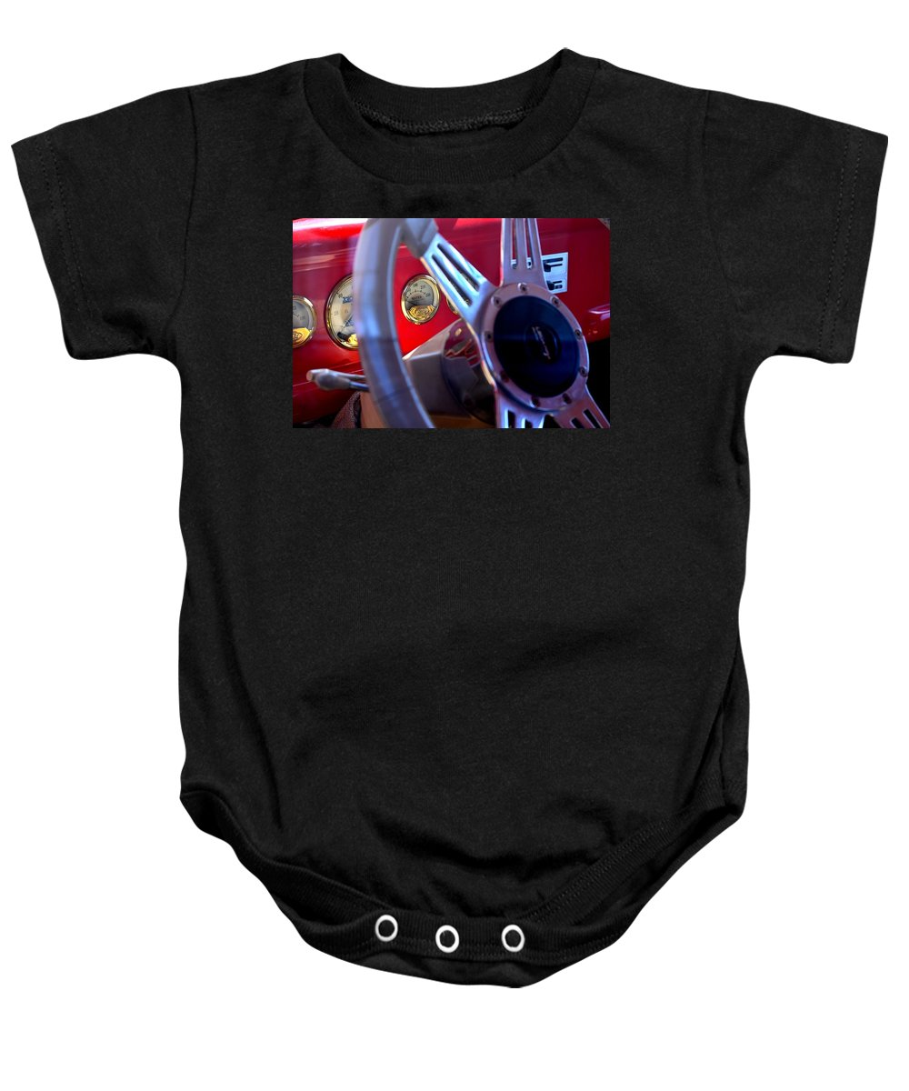 Ford Baby Onesie featuring the photograph Behind The Wheel Of A 1940 Ford by Maria Urso