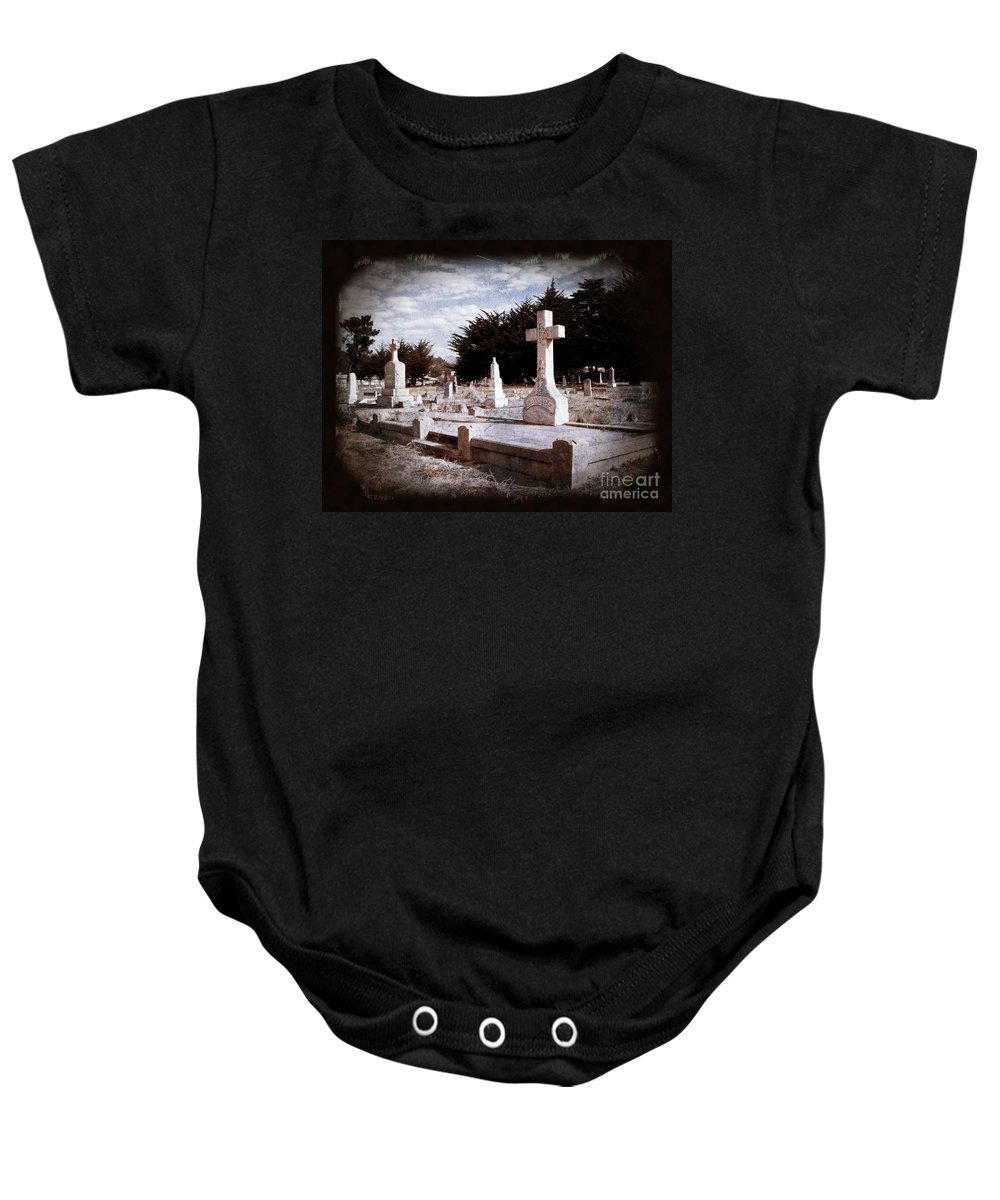 Death Baby Onesie featuring the photograph Beyond All Strife by Laura Iverson