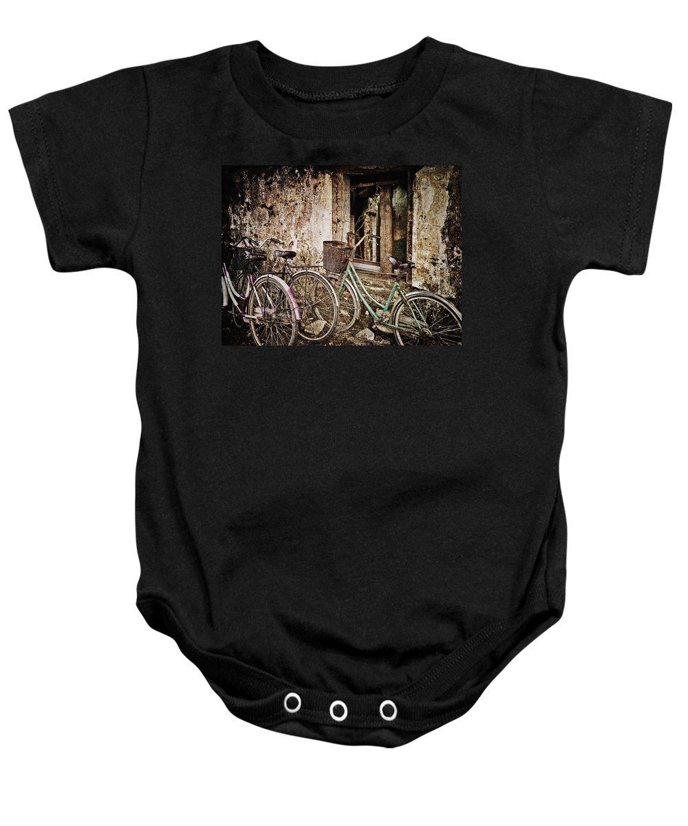 Abstract Baby Onesie featuring the photograph Bikes And A Window by Skip Nall