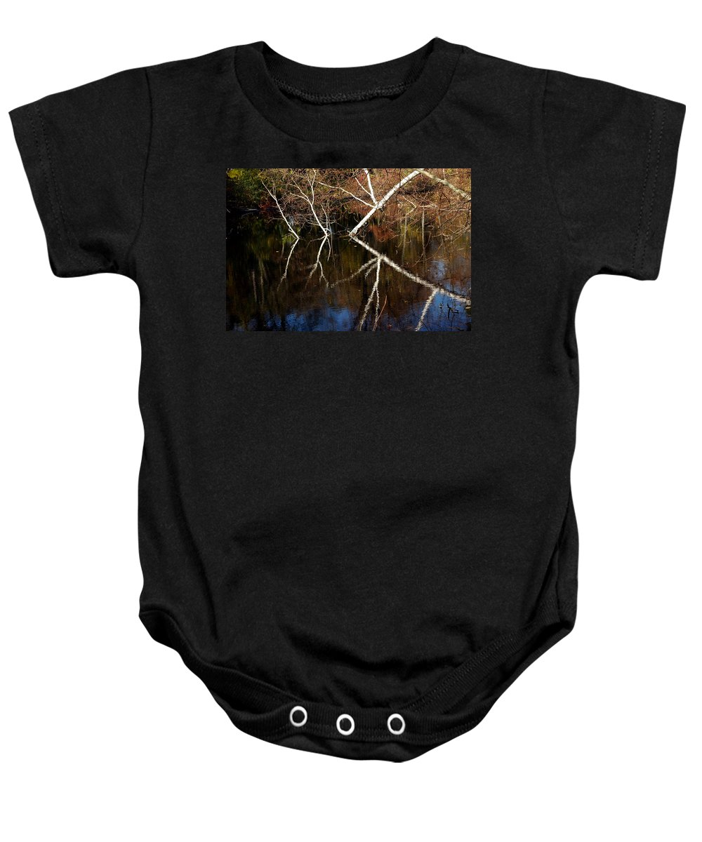 Usa Baby Onesie featuring the photograph Birch Reflections by LeeAnn McLaneGoetz McLaneGoetzStudioLLCcom