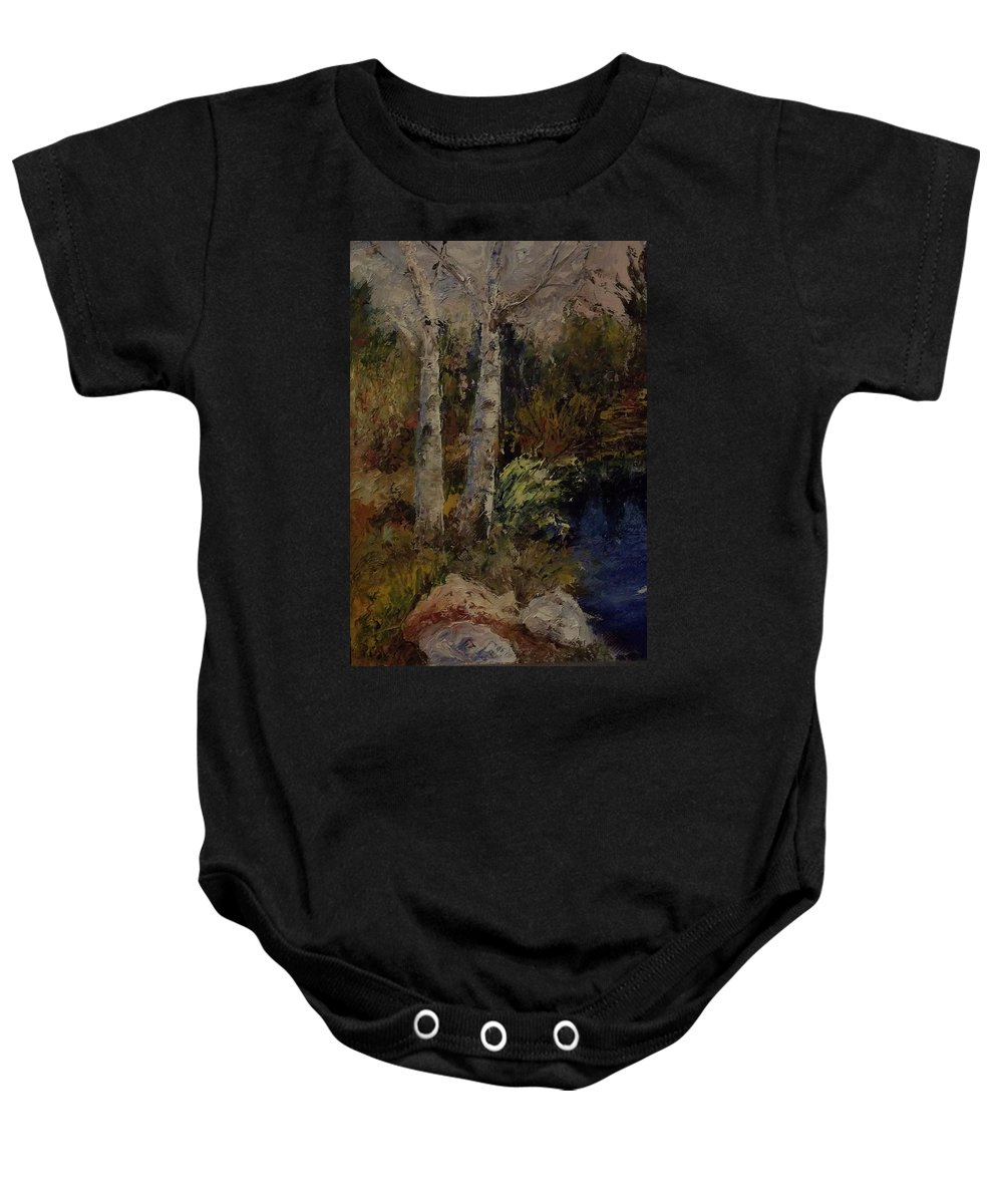 Landscape Baby Onesie featuring the painting Birch by Stephen King