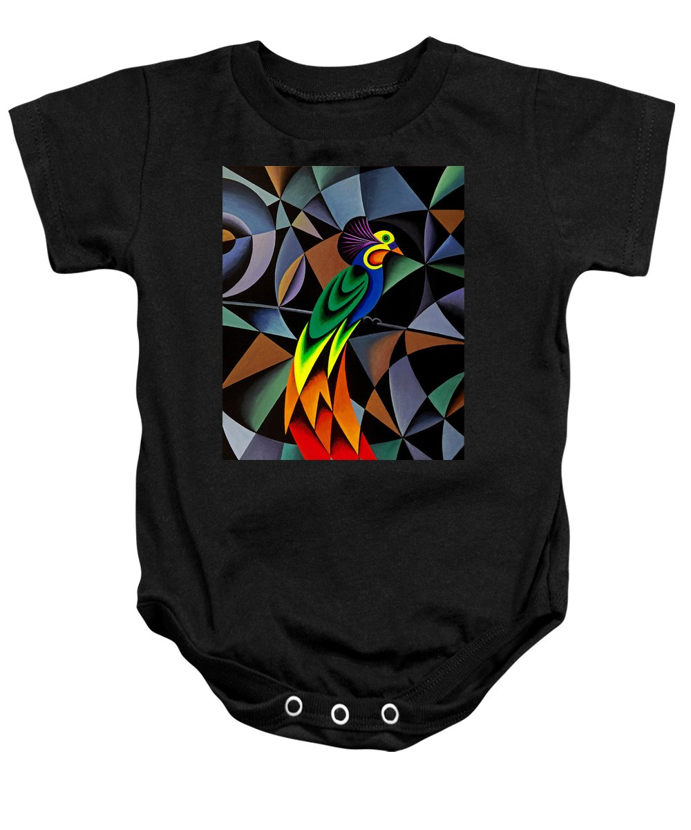 Bird Baby Onesie featuring the painting Bird Of Paradise by Bruce Bodden