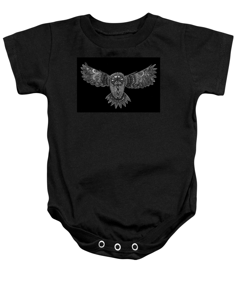 Nature Baby Onesie featuring the drawing Black And White Owl by Karen Elzinga