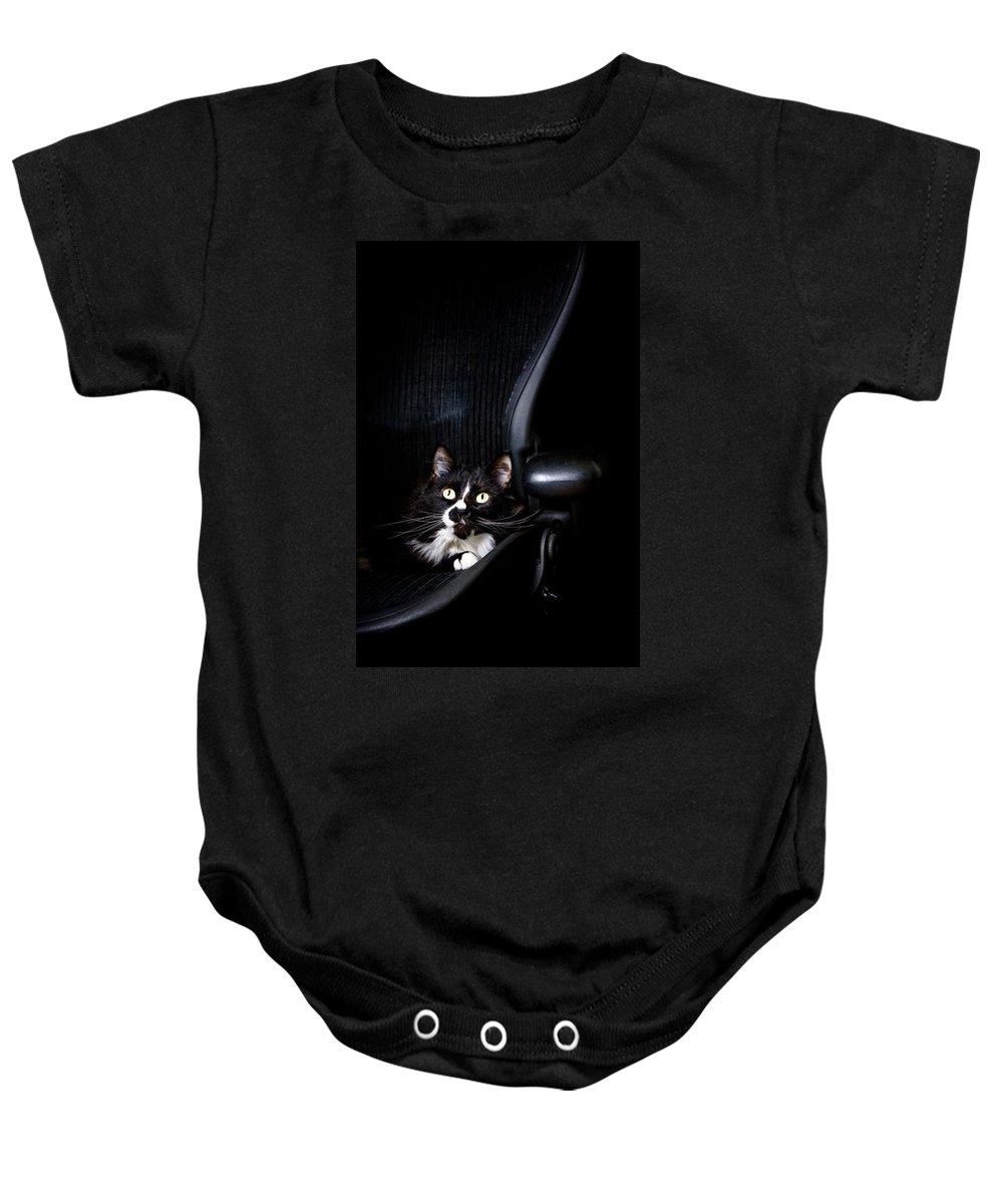 Animals Baby Onesie featuring the photograph Black Cat by David DuChemin