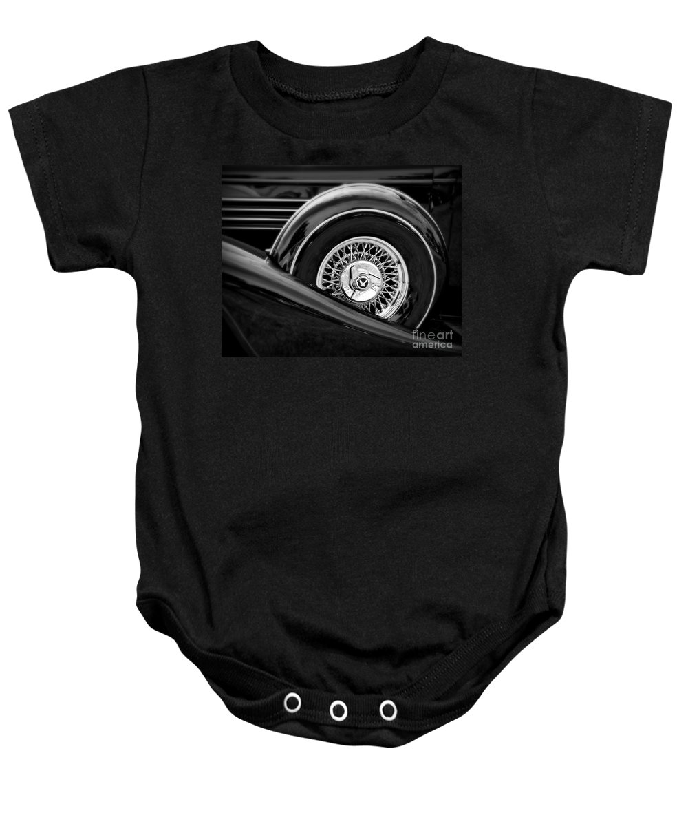 Car Baby Onesie featuring the photograph Black Classic 2 by Perry Webster