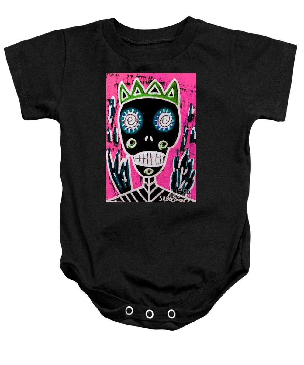 Women Baby Onesie featuring the painting Black King Sugar Skull Angel by Sandra Silberzweig