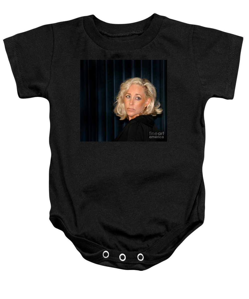 Young Baby Onesie featuring the photograph Blond Woman Sad by Henrik Lehnerer