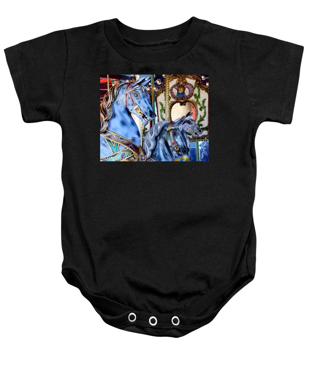 Carousel Baby Onesie featuring the photograph Blue Carousel Merry Go Round Horses by Terry Fleckney