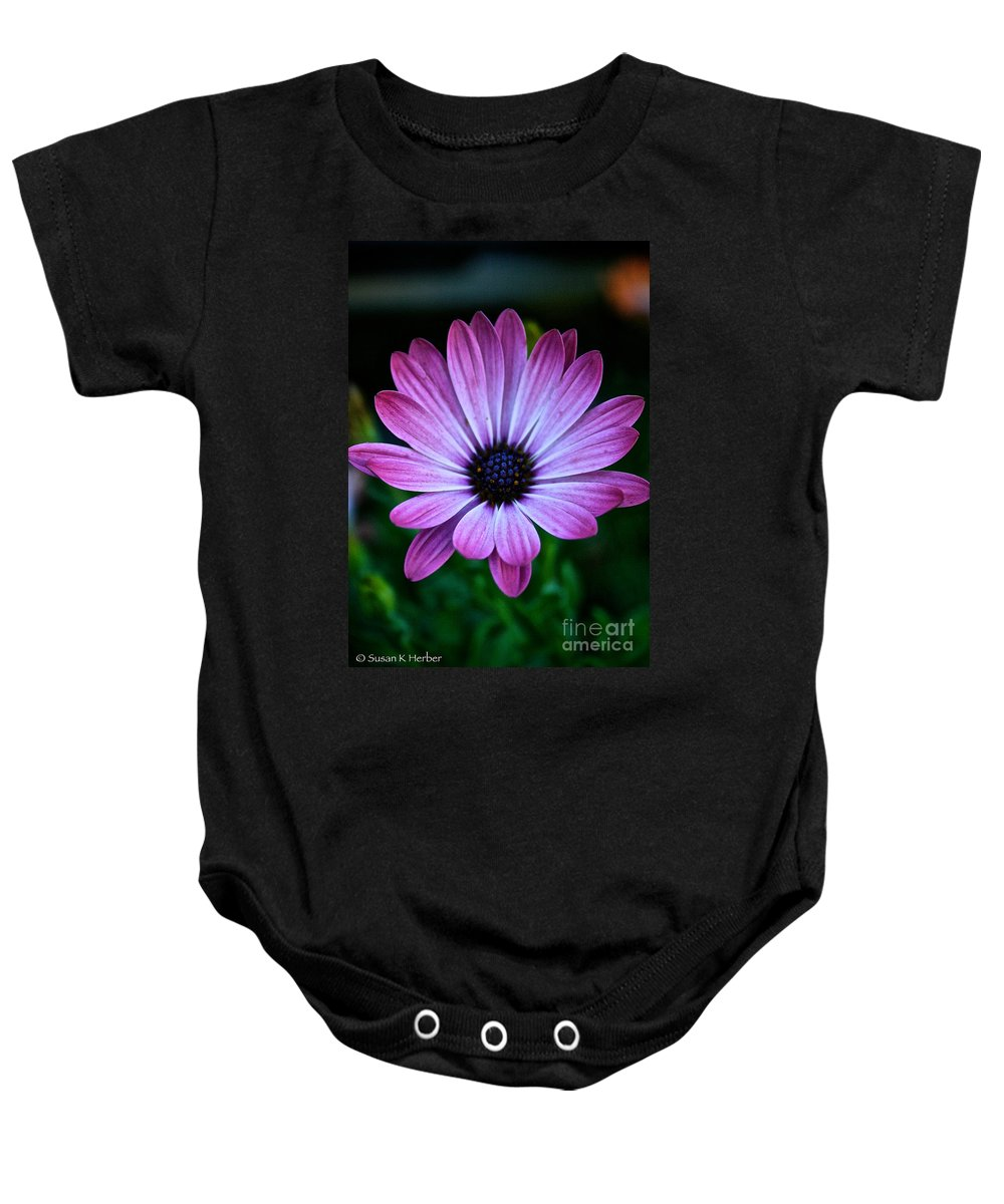 Plant Baby Onesie featuring the photograph Blue Soul by Susan Herber