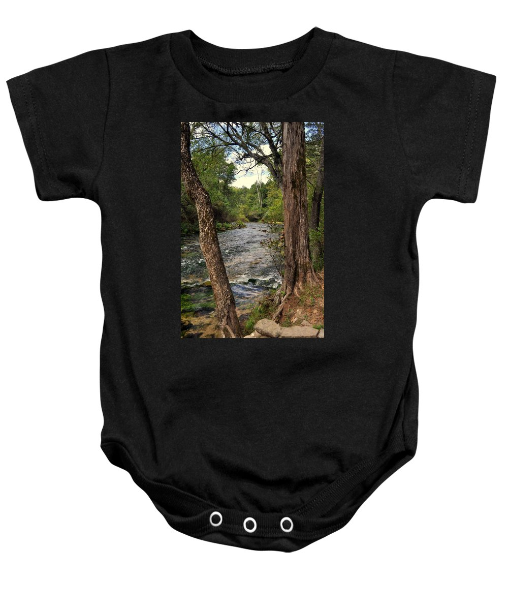Stream Baby Onesie featuring the photograph Blue Spring Branch by Marty Koch