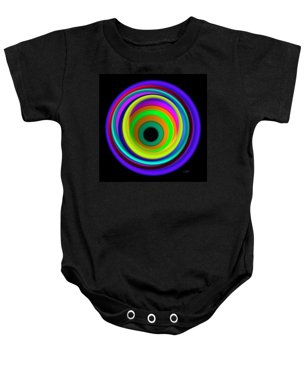 Abstract Digital Art Baby Onesie featuring the painting Blue Vortex by Charles Stuart