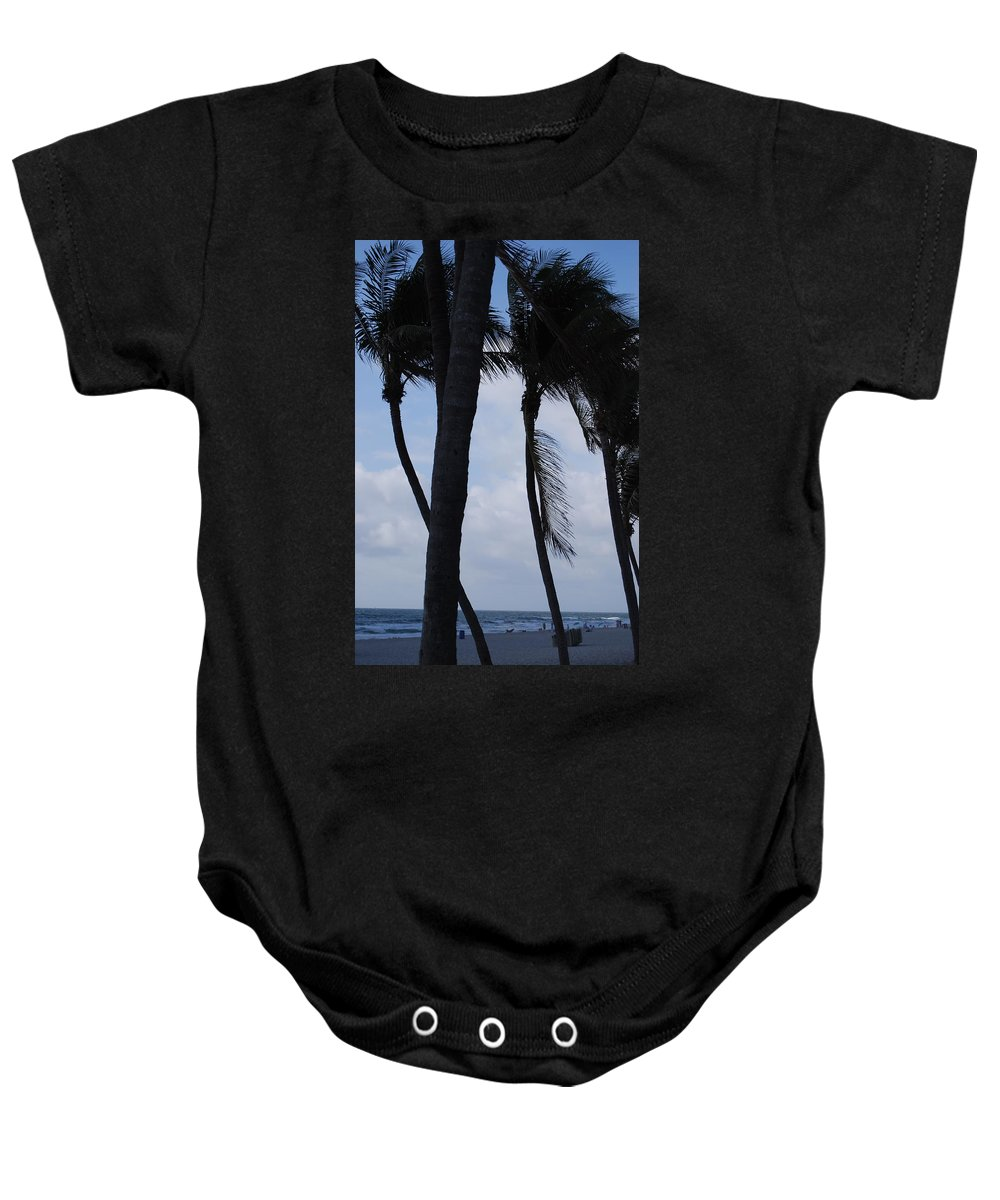 Beach Baby Onesie featuring the photograph Blustery Beach At Dawn by Judy Hall-Folde