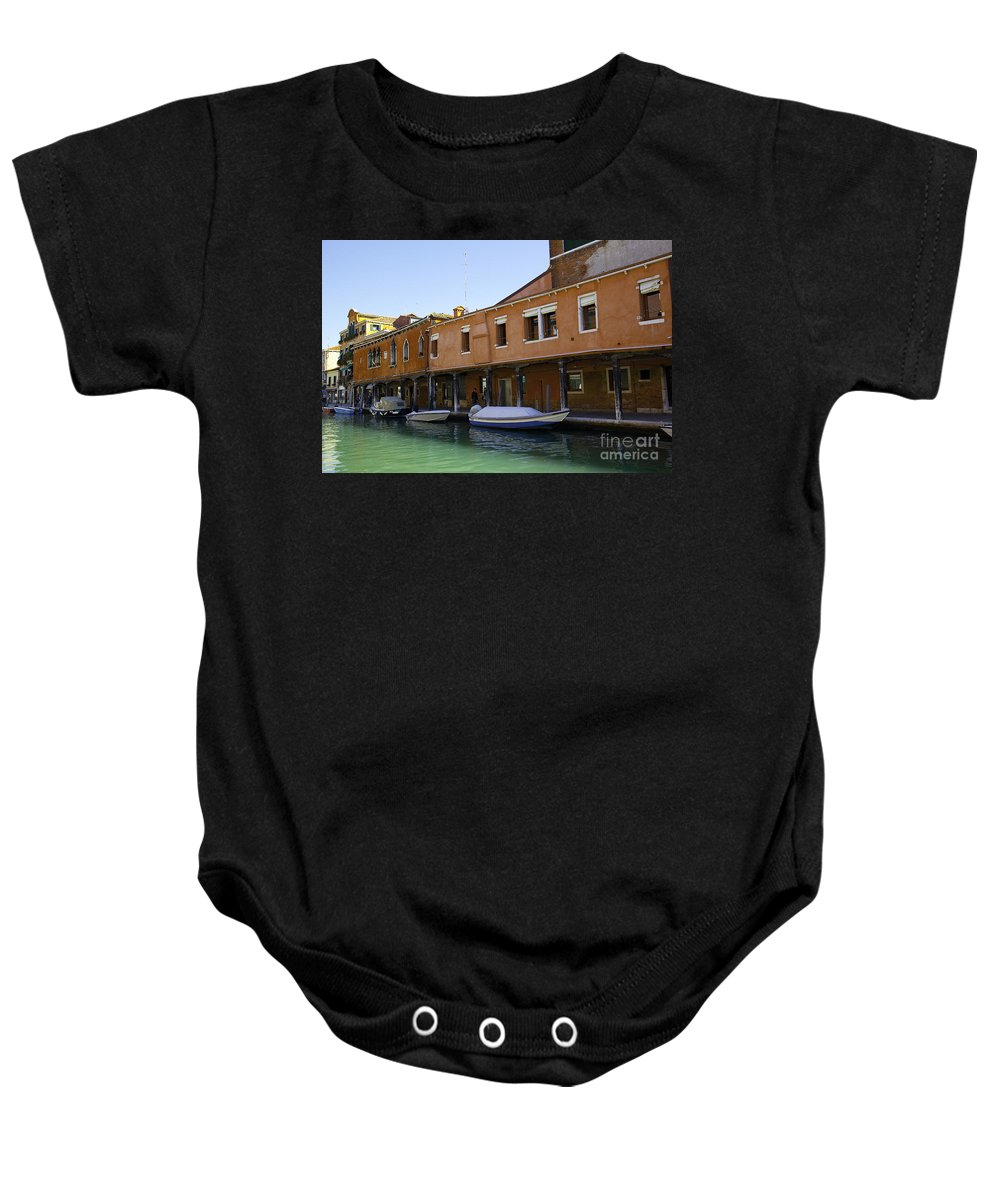 Boats Baby Onesie featuring the photograph Boats On The Canal - Venice by Madeline Ellis