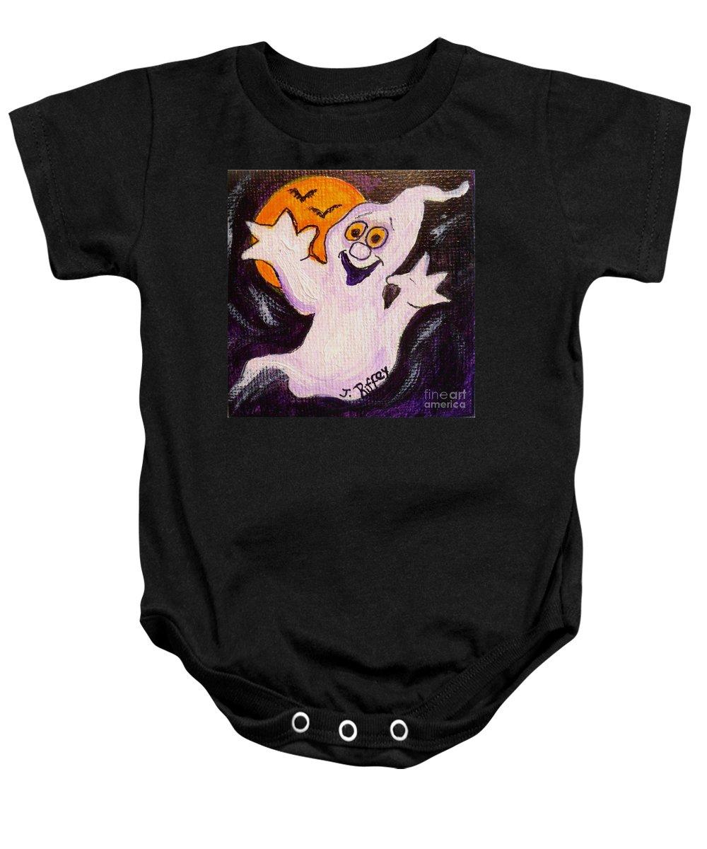 Halloween Baby Onesie featuring the painting Bobbledeboo by Julie Brugh Riffey