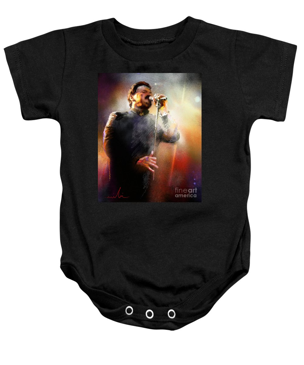 Musicians Baby Onesie featuring the painting Bobby Kimball From Toto 01 by Miki De Goodaboom