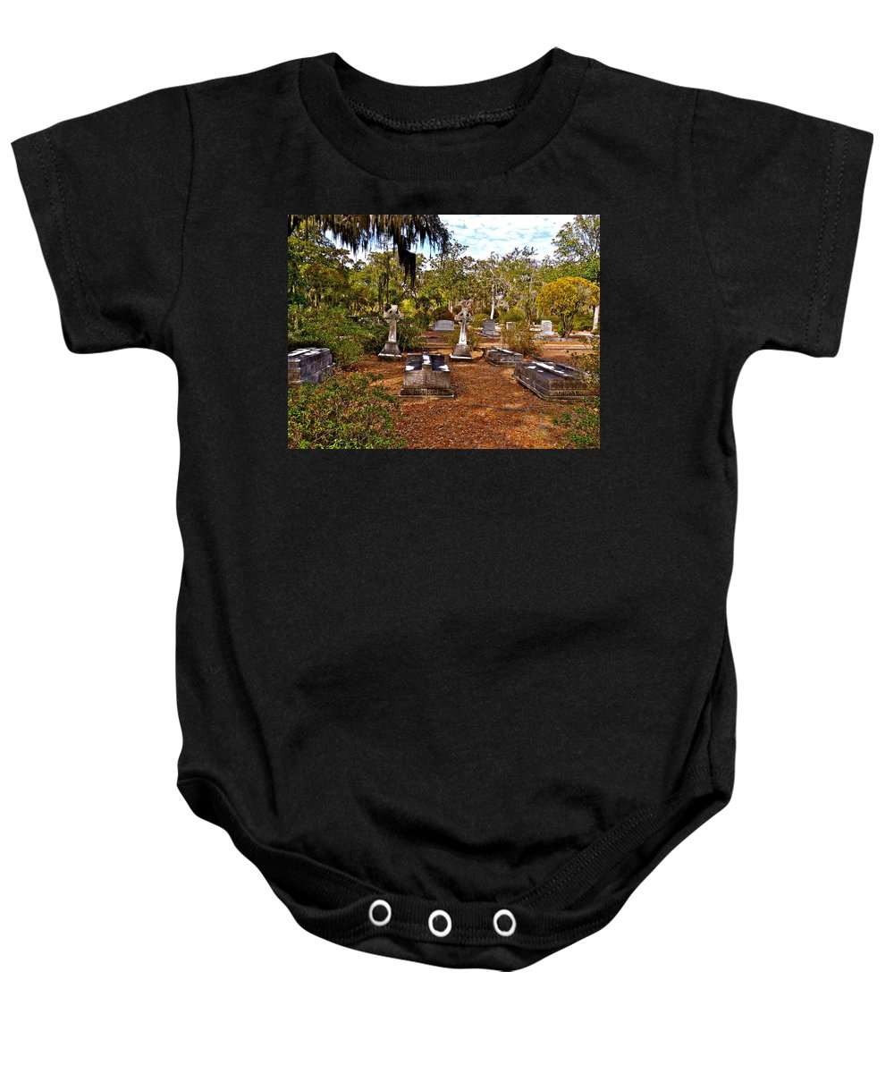 Cemetery Baby Onesie featuring the photograph Bonaventure by Catherine Conroy