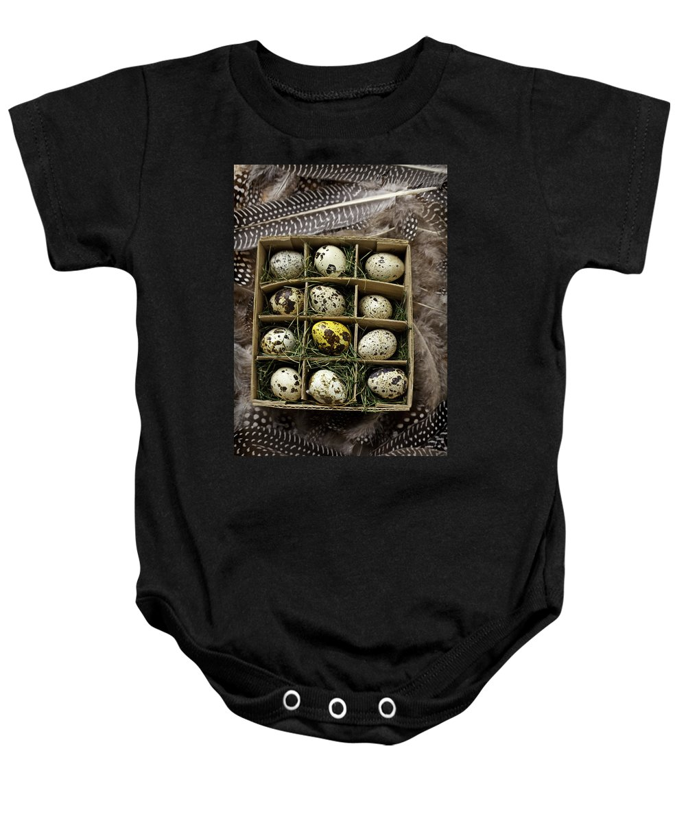 Bird Baby Onesie featuring the photograph Box Of Quail Eggs by Garry Gay