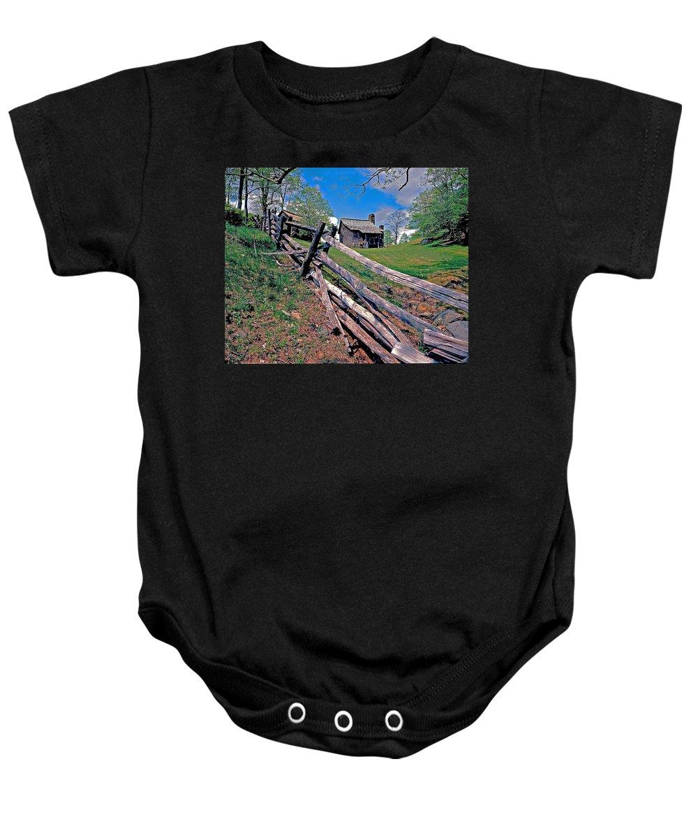 North Carolina Baby Onesie featuring the photograph Breiniger Cabin by Rich Walter