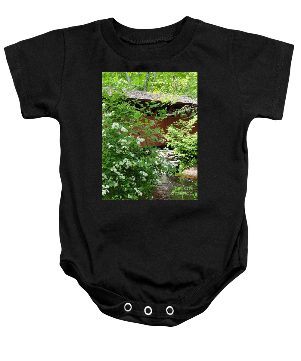 Outdoors Baby Onesie featuring the photograph Bridge Of Chatfield Hollow by Meandering Photography