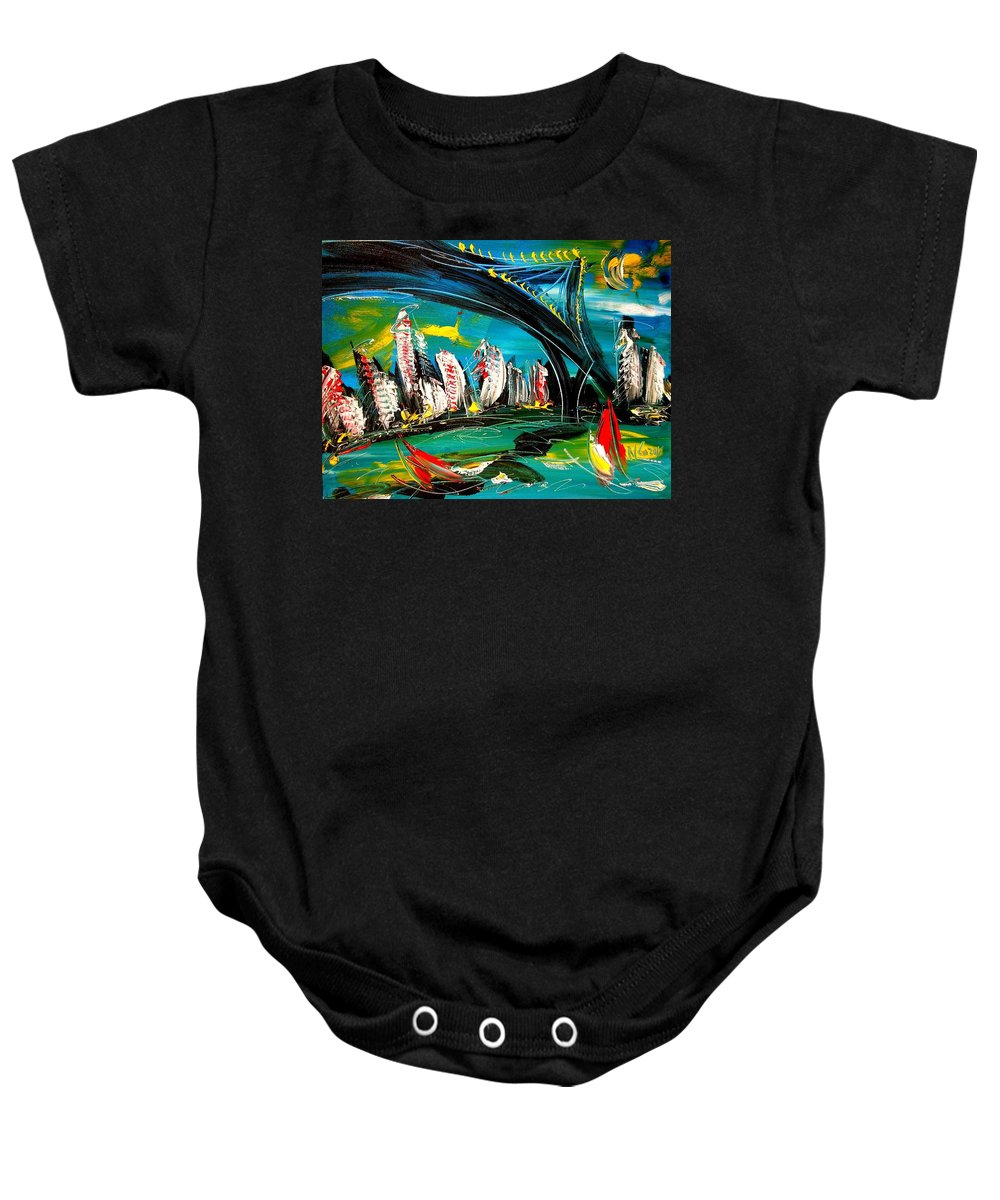Baby Onesie featuring the painting Bridges by Mark Kazav