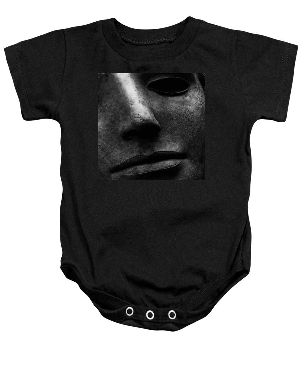 Bronze Sculpture Baby Onesie featuring the photograph Bronze Mask by Andrew Fare