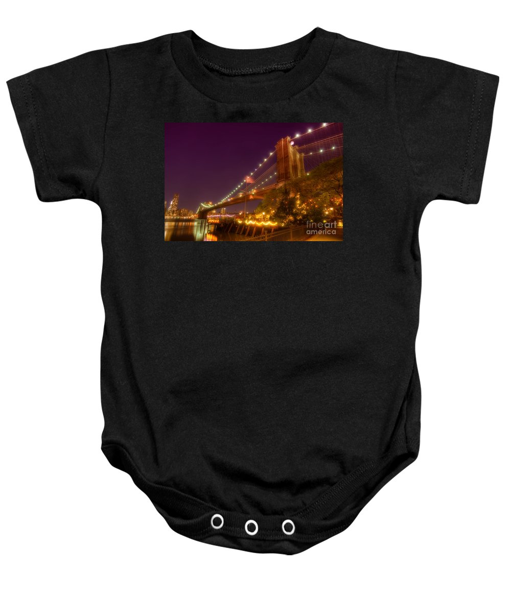 Art Baby Onesie featuring the photograph Brooklyn Bridge At Night by Yhun Suarez