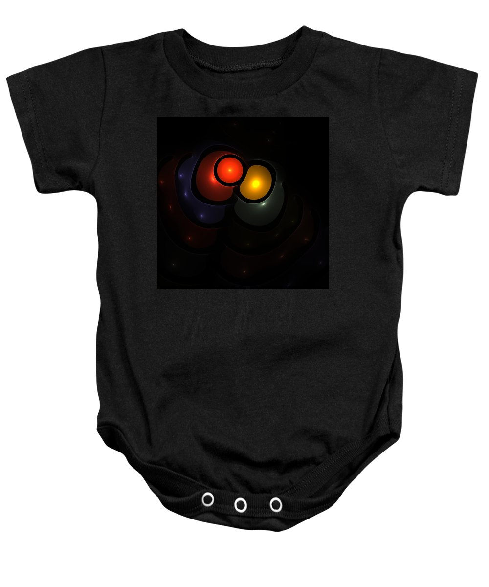 Bubble Art Digital Composition Fractal Color Colorful Expressionism Impressionism Baby Onesie featuring the digital art Bubble Art 3 Lovers by Steve K