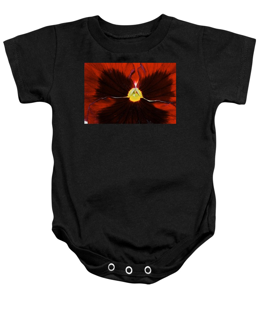 Pansy Baby Onesie featuring the photograph Burgandy Pansy by Phyllis Denton