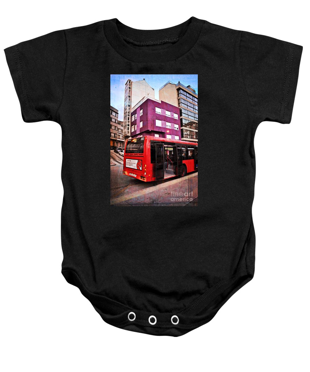 Bus Stop Baby Onesie featuring the photograph Bus Stop - La Coruna by Mary Machare