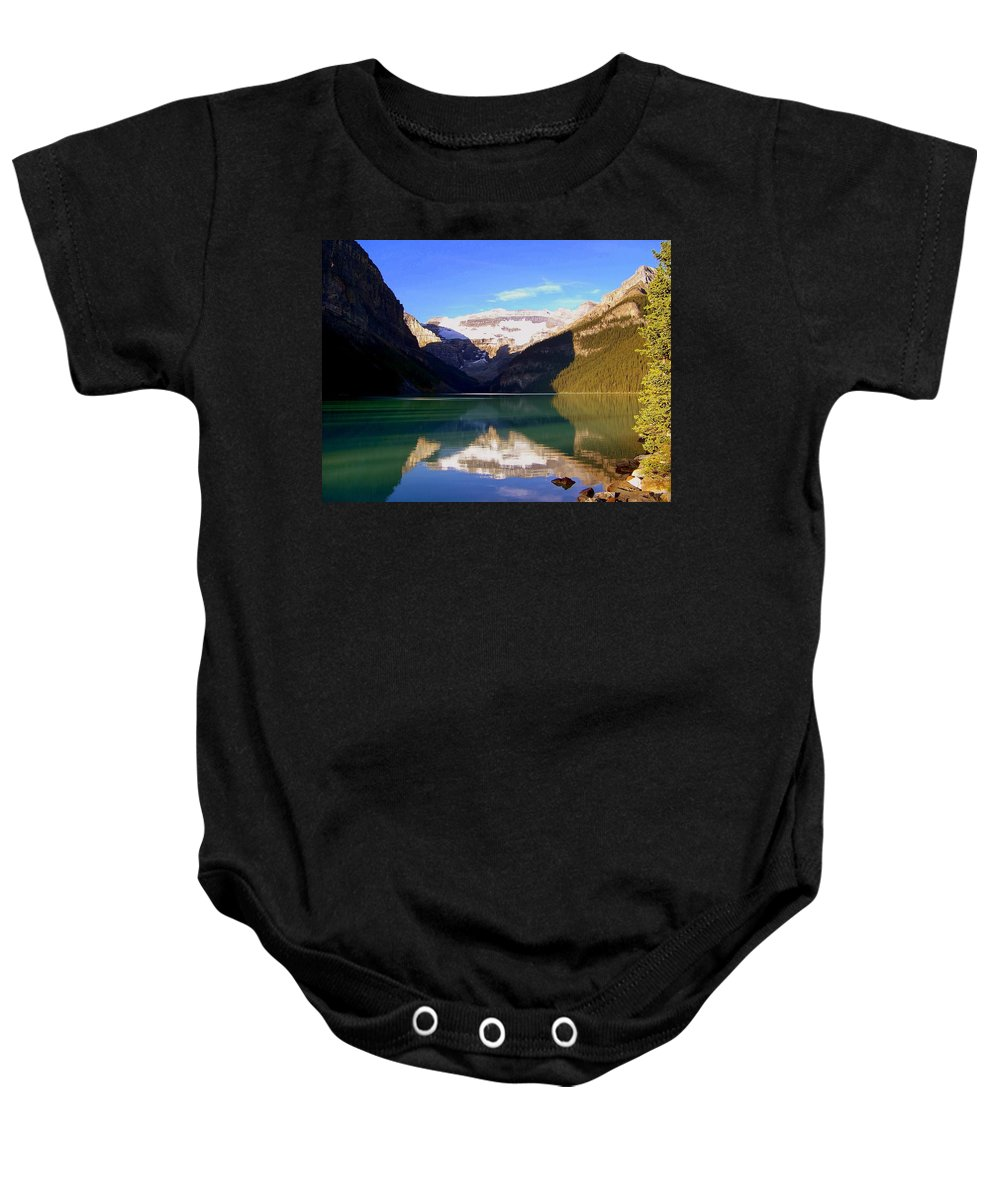Lake Louise Baby Onesie featuring the photograph Butterfly Phenomenon At Lake Louise by Karen Wiles