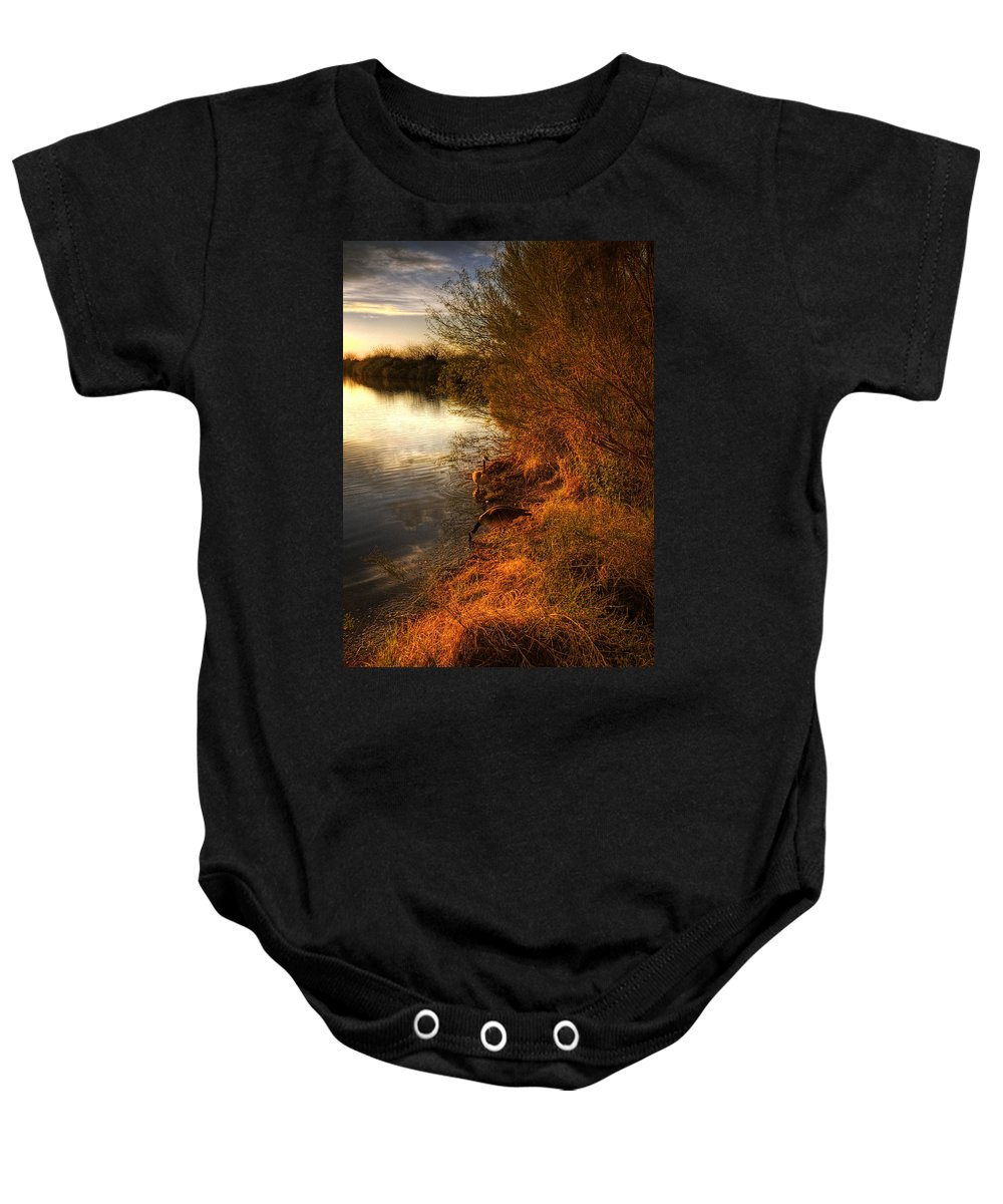 Sunset Baby Onesie featuring the photograph By The Evening's Golden Glow by Saija Lehtonen