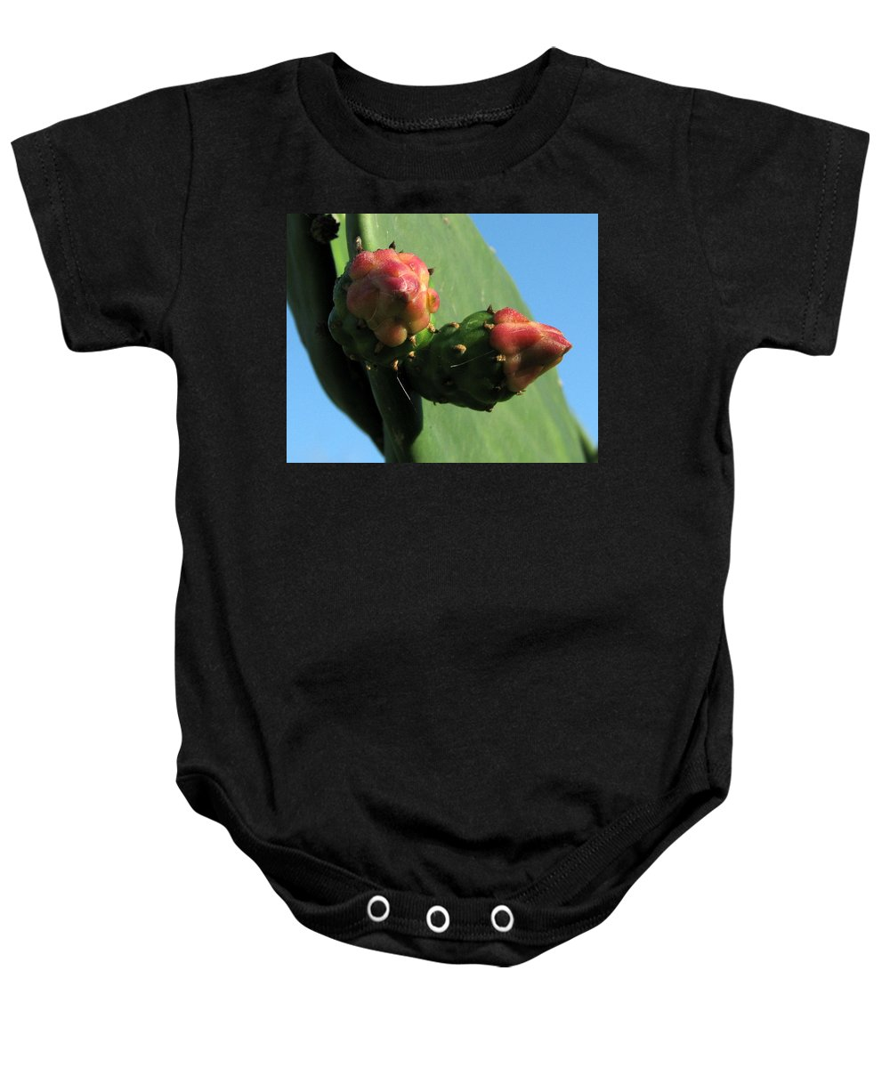 Nature Baby Onesie featuring the photograph Cactus Buds by Peg Urban