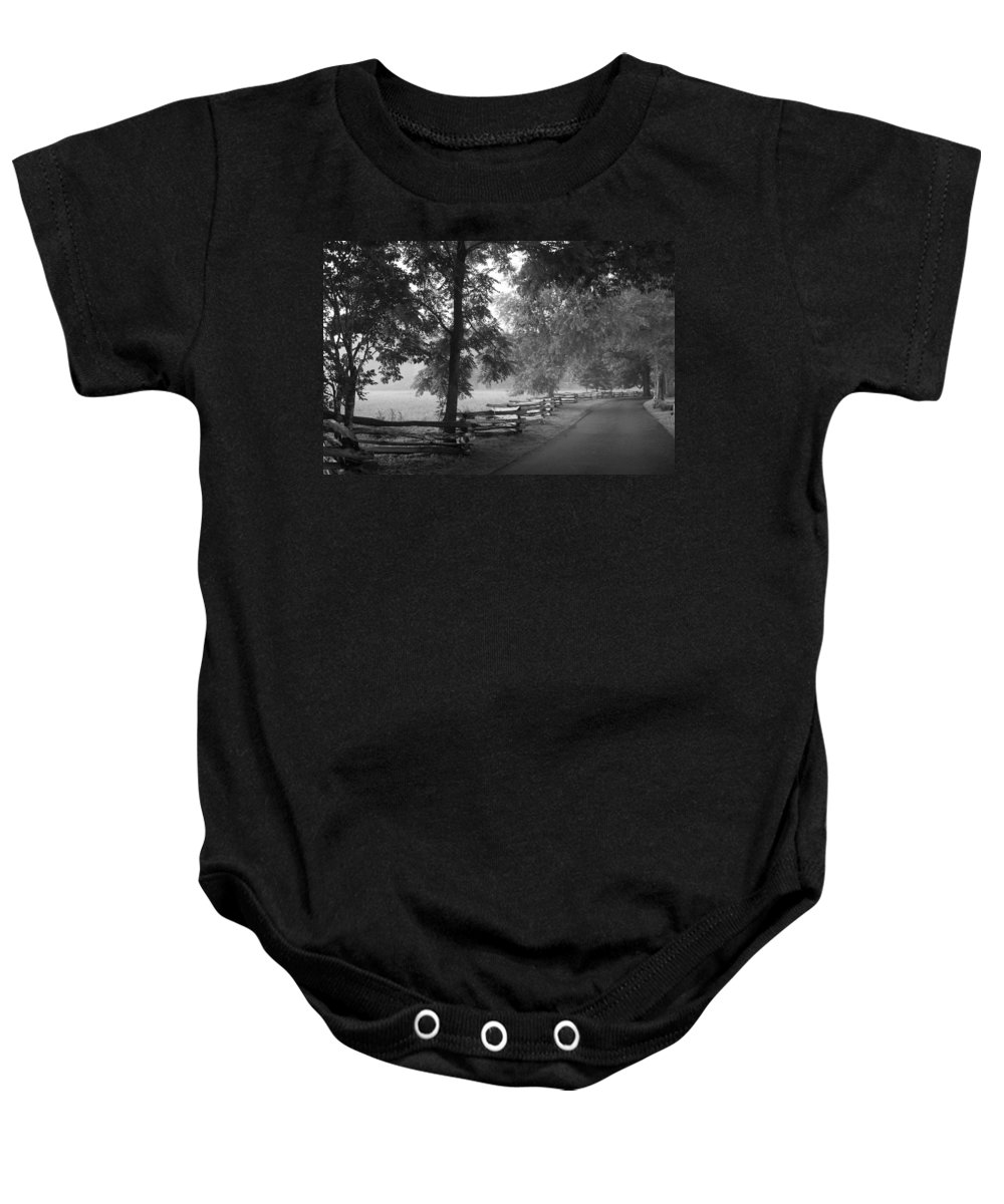 Cades Cover Baby Onesie featuring the photograph Cades Cove Tennessee In Black And White by Kathy Clark