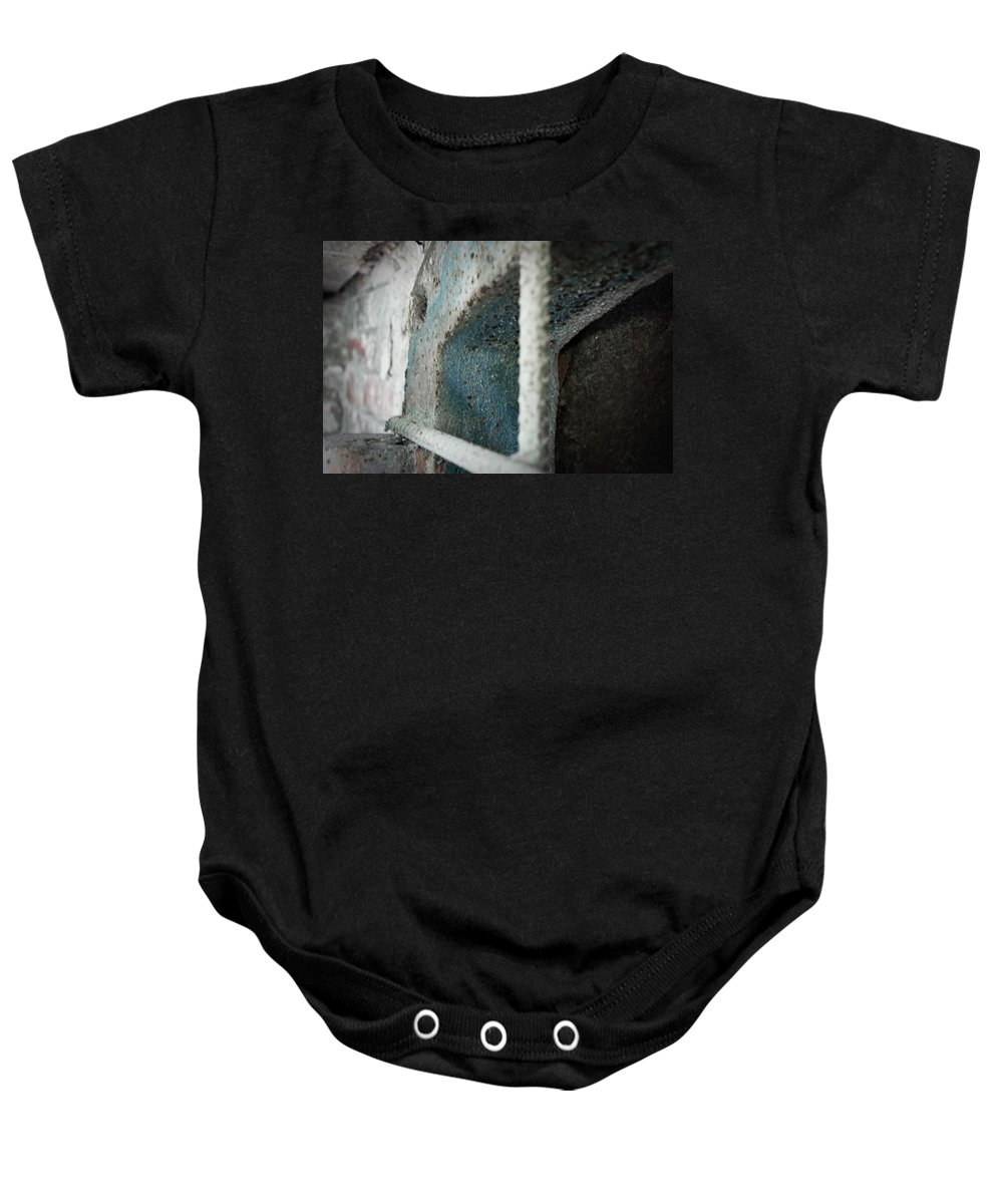 Urban Exploration Baby Onesie featuring the photograph Caged by April Davis
