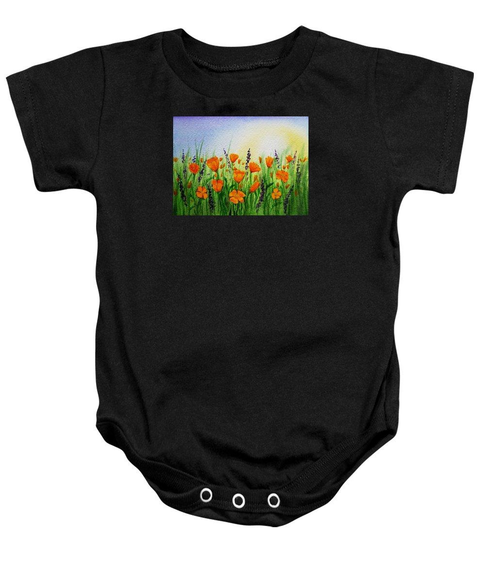 Poppies Baby Onesie featuring the painting California Poppies Field by Irina Sztukowski
