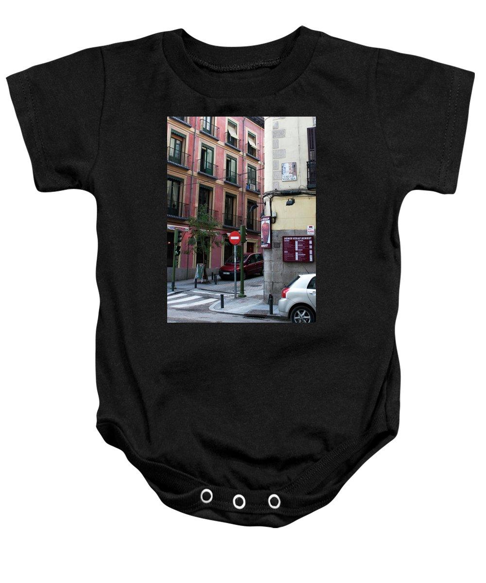 Madrid Baby Onesie featuring the photograph Calle De Vergara Madrid by Lorraine Devon Wilke