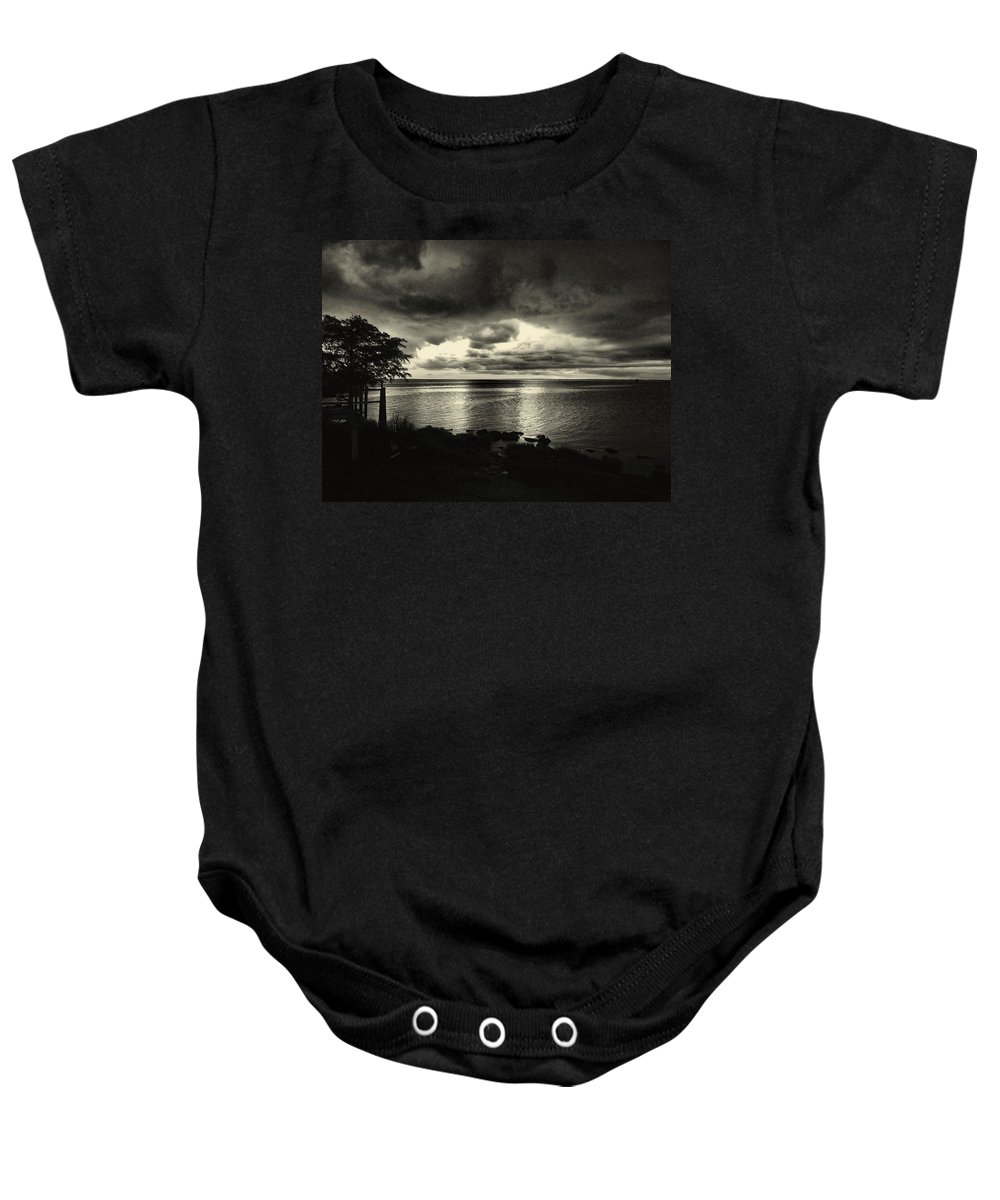 Black And White Baby Onesie featuring the photograph Calm Before The Storm by Anthony Walker Sr