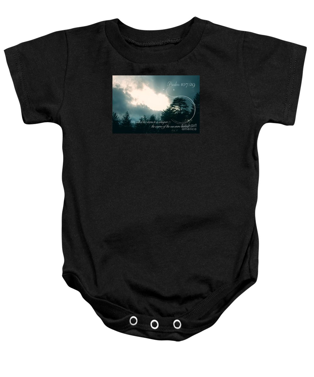 Storm Baby Onesie featuring the photograph Calm The Storm by Lena Auxier