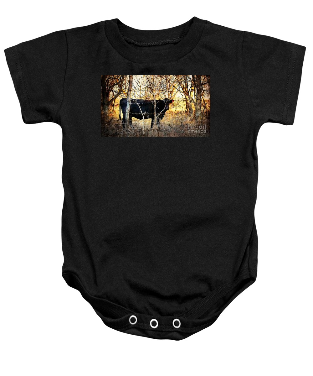 Cow Baby Onesie featuring the photograph Can You See Me Now 2 by Sharlotte Hughes