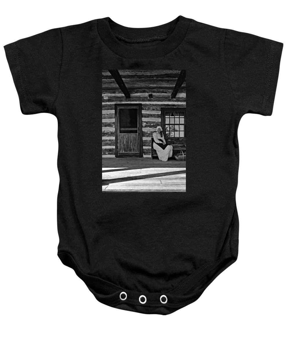 Grey Roots Museum & Archives Baby Onesie featuring the photograph Canadian Gothic Monochrome by Steve Harrington
