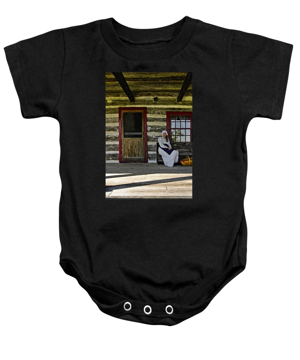 Grey Roots Museum & Archives Baby Onesie featuring the photograph Canadian Gothic by Steve Harrington