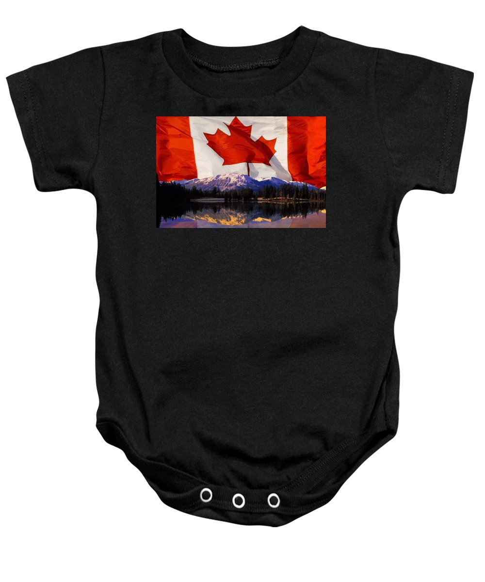 Horizon Baby Onesie featuring the photograph Canadian Mountains by Corey Hochachka
