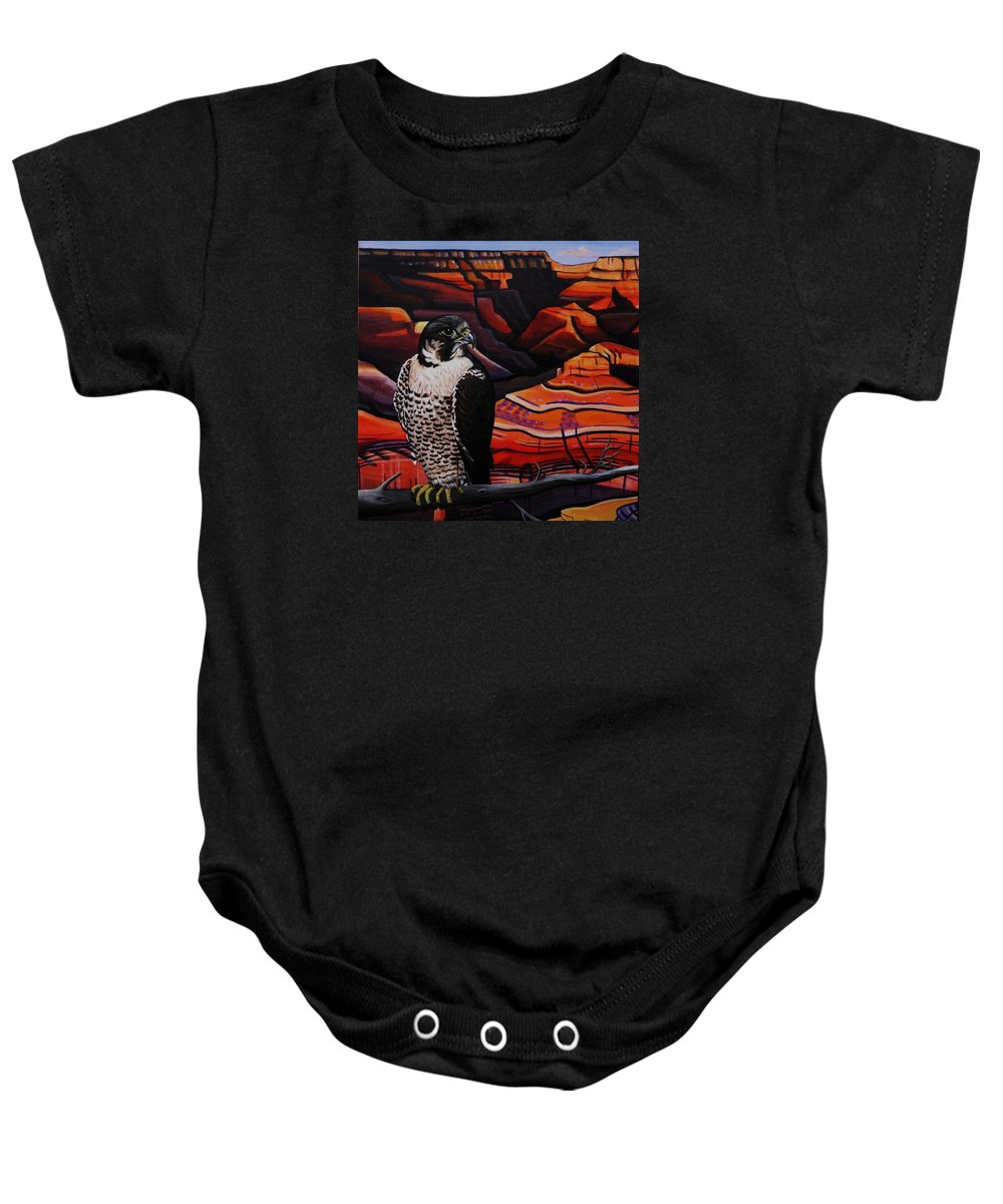 Perigrine Baby Onesie featuring the painting Canyon Shadows by Lucy Deane