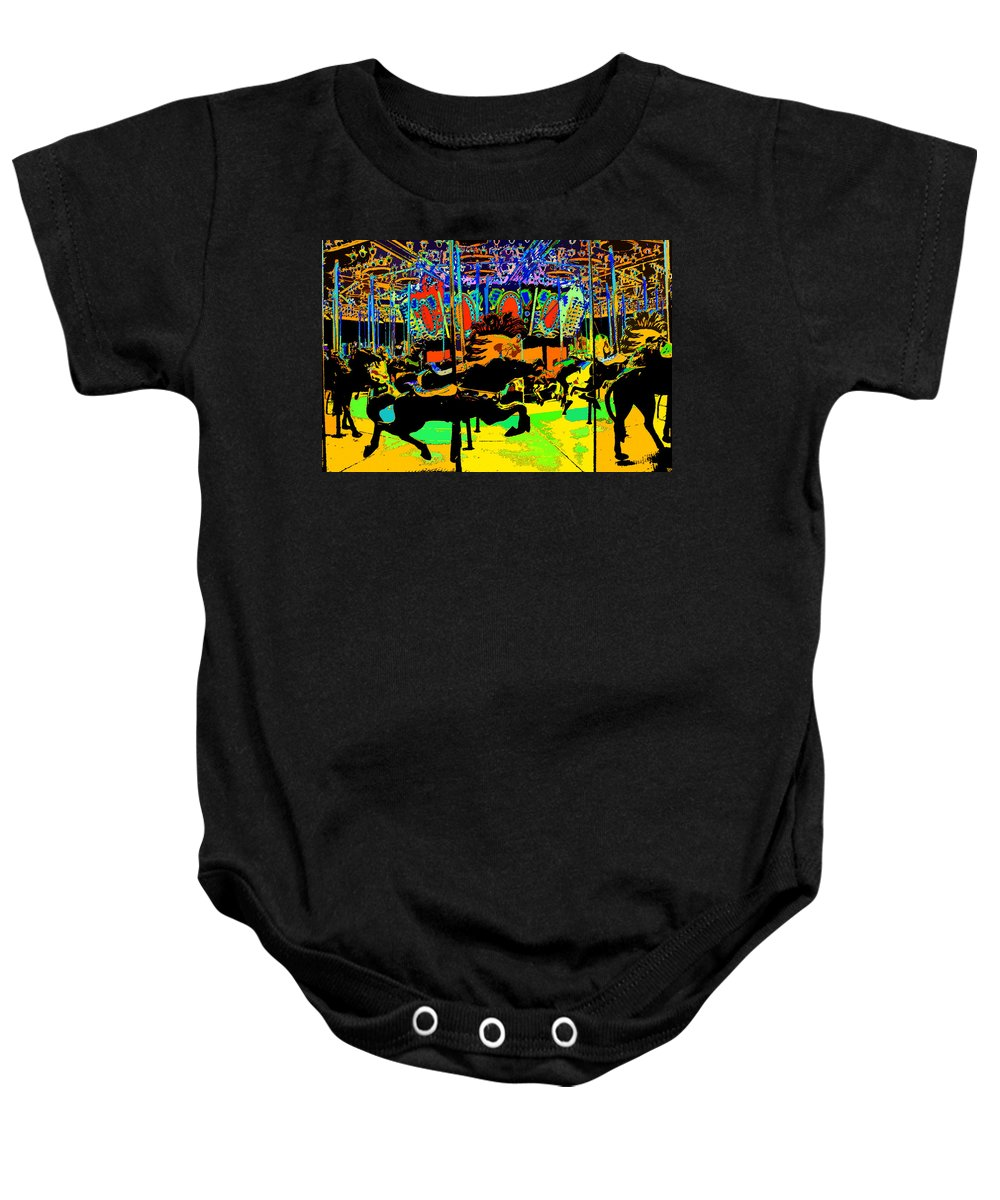 Art Baby Onesie featuring the painting Carousel Colors by David Lee Thompson