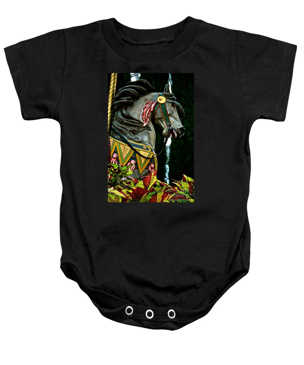 Horse Baby Onesie featuring the photograph Carousel Horse by Susan Herber